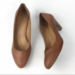 Nine West Sabra Brown Leather Low Heel Shoe 9.5